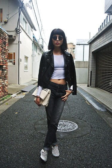 Samantha Mariko - Uniqlo Leather Jacket, Topshop Cropped Top, Le Ciel Bleu Denim, Vans Shoes - Leather & denim