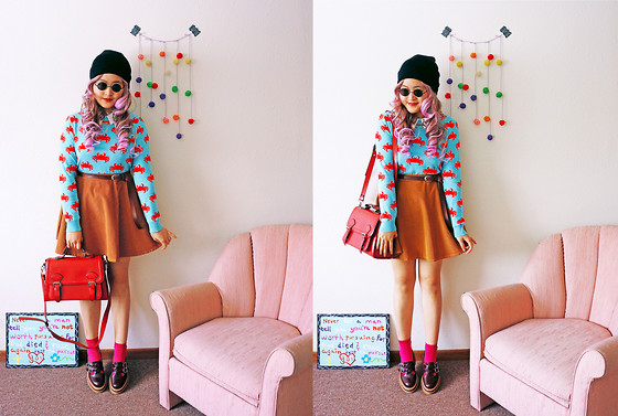 Maggie Y - Forever 21 Sweater, American Apparel Skirt, Jeffrey Campbell Oxfords - Candy crash