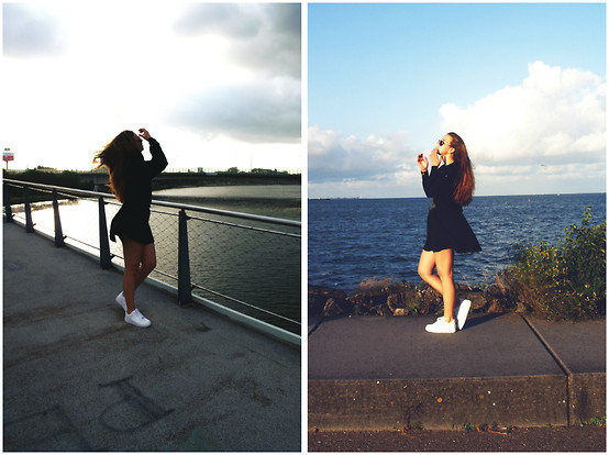 Braidsandeyeliner - Vintage Store Sweater, Colosseum Dress, Nike Air Force 1 - Follow the Sun