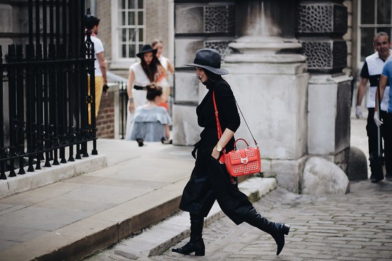 Jasmin - Asos Hat, Zara Vest, Rebecca Minkoff Bag, Zara Culottes, Zara Boots - London Fashion Week Day 2