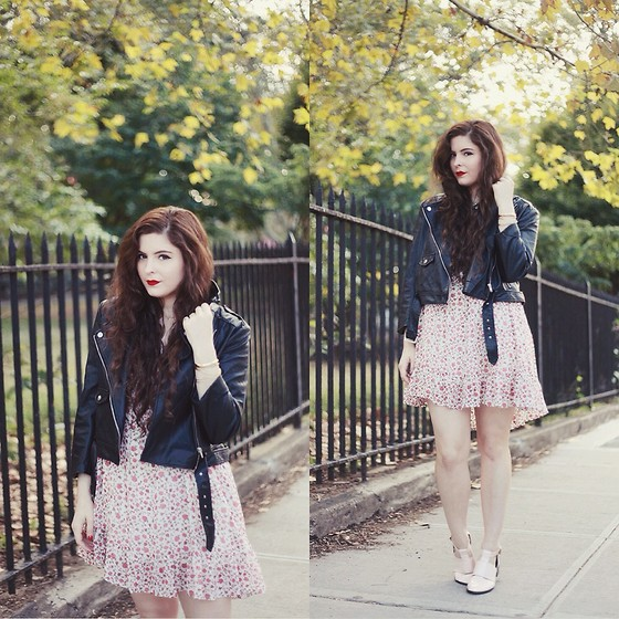 Noelle Downing - Others Follow Floral Dress, Missguided Moto Jacket, Pink Booties - I do it for the love