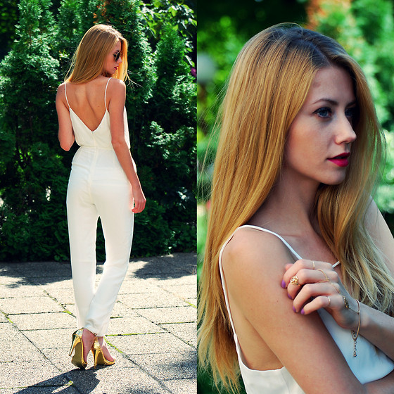 Vivienn Nagy - Sheinside Jumpsuit, Forever 21 Jewelry - White Jumpsuit