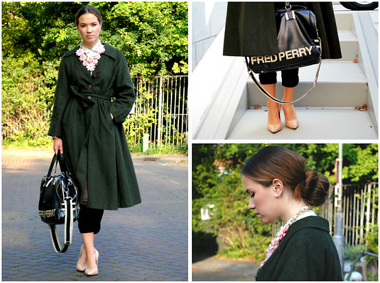Braidsandeyeliner - Vintage Coat, Buffalo Shoes Heels, Bijou Brigitte Pearl Earrings, Zara Pants, Fred Perry Bag - Sleek and Classy