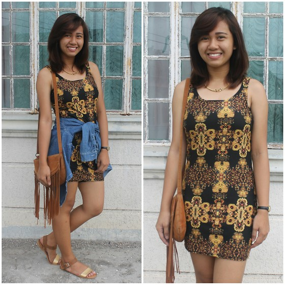 Winona Carandang - Denim Polo, Gold And Brown Sandals, Hipster Bag, Dress - Black and Gold