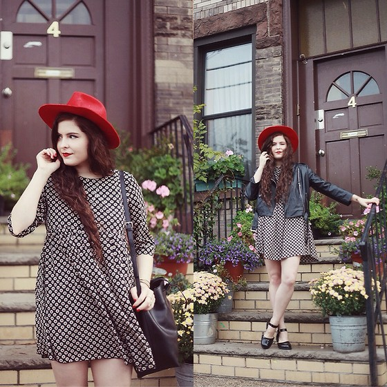 Noelle Downing - Missguided Moto Jacket, Lack Of Color Red Hat, Missguided Smock Dress, Missguided Patient Shoes - The bqe