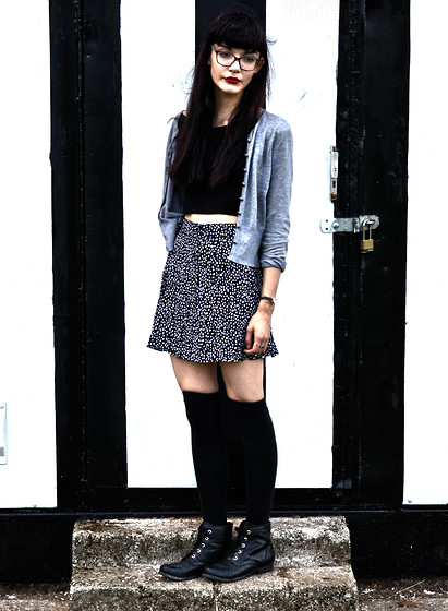 Izzy Humphreys - Divided Spotty Skirt, New Look Lace Up Boots, Frontrowshop Off The Shoulder Crop Top - The pretty lies, the ugly truth