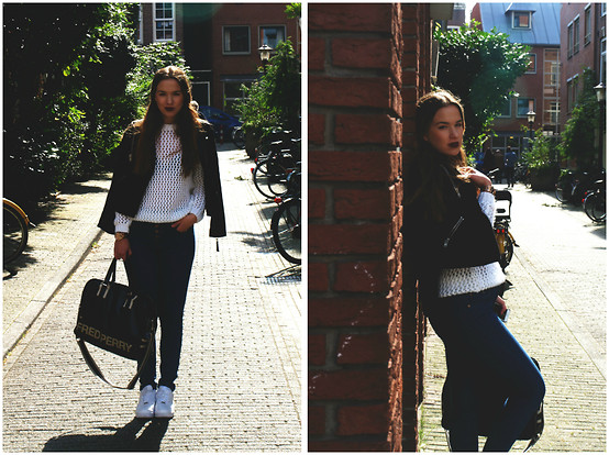 Braidsandeyeliner - Mango Leather Jacket, Stradivarius Knitted Cardigan, Gina Tricot High Waisted Jeans, Nike Air Force 1, Fred Perry Bag - Autumn In Amsterdam