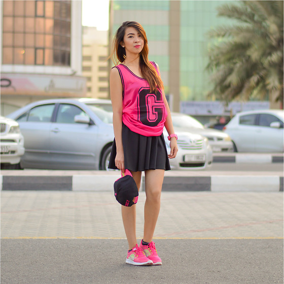Angela Fernandez - Nike Running Shoes, Skater Skirt, Ice Watch, Splash Varsity Top - Pink vs black