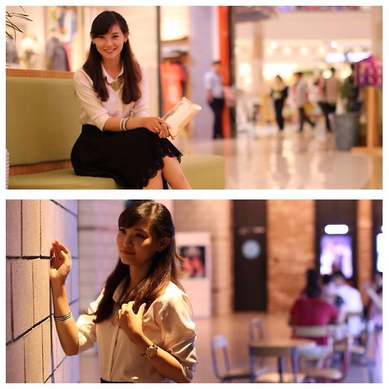 Alice - Lack A  Line Skirt, White Shirt, Yellow Necklace, White  Black Bracelet, Yellow Clutch - Office uniforms