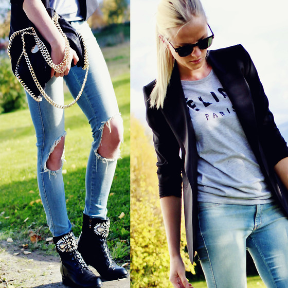 Kriste -  - Destroyed jeans, tuxedo blazer and combat boots