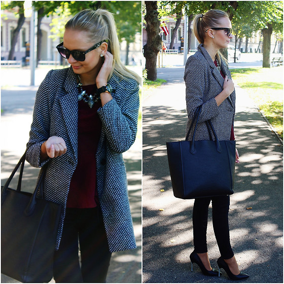 Madara L - Rosewe Black And White Coat, H&M Burgundy Red Top, Ebay Black Geneva Watch, Lovely Wholesale Black Heels - Sunny fall day pt.2