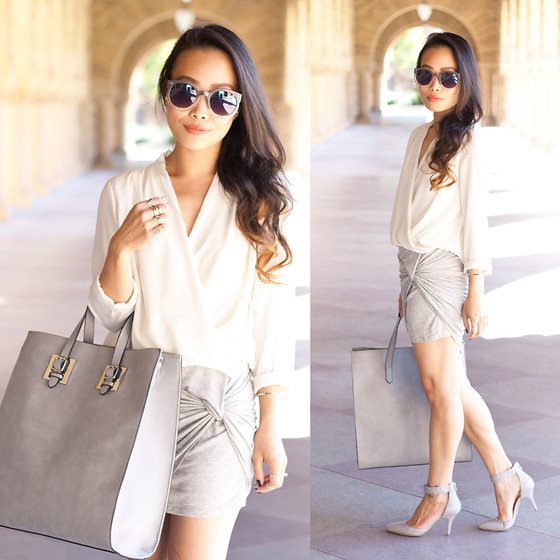 Toshiko S. - Sunglass Warehouse Sunglasses, Forever 21 Draped Chiffon Blouse, Forever 21 Oversize Structured Tote, Wet Seal Knotted Mini Skirt - Grayscale