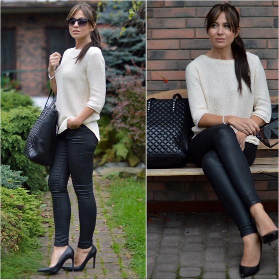 Ola Wiecha - Mango Pants, Heels, Zara Bag, Sweater - Simple