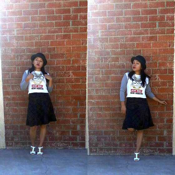 Tania - Forever 21 Kitty Sweater, Rialto White Sandals, D&Y Black Bowler Hat - Meow