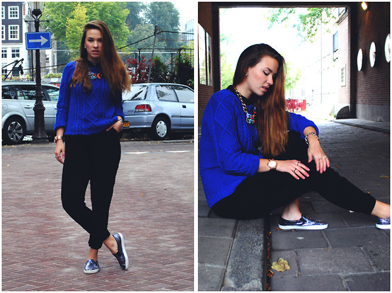 Braidsandeyeliner - Zara Blue Sweater, Pimkie Playsuit, Boohoo Shoes, Michael Kors Watch - Somewhere but nowhere