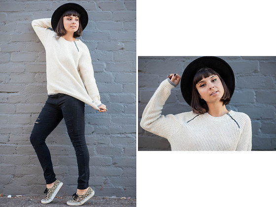 Chanelle L.™ - Vans Waffle Knit Sweater, Leopard Classics, Hat - Falling for Vans Girls Part 2