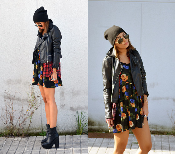 L A - Mango Leather Jacket, Asos Slouchy Beanie, Minkpink Dress - STOP TO SMELL THE ROSES