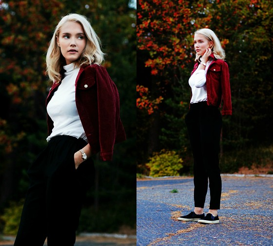 Petra Karlsson - Choies Jacket, Åhlens Polo, Åhens Pants, Choies Shoes - OXFORD OXBLOOD