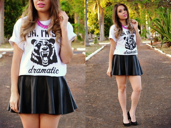 Priscila Figueredo - Hicustom T Shirt, Ebay Leather Skirt, Born Pretty Store Necklaces - Oh, I'm so dramatic
