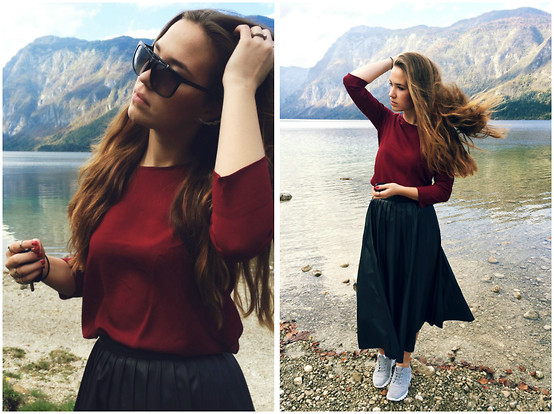 Braidsandeyeliner - Stradivarius Blouse, Zara Midi Skirt, Gucci Sunglasses, Zara Sneakers, H&M Rings - On The Sunny Side Of The Alps