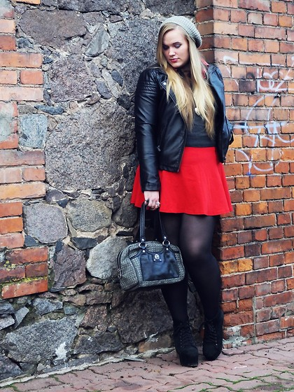 Viktoria K - Marc By Jacobs Vintage Bag, Jeffrey Campbell Lita Boots, H&M Red Skater Skirt, Fb Sister Leather Jacket - It ain't autumn without your nails done