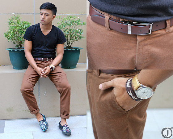 Joamar-John Canosa - Bench Tee, Valentino Watch, Platinum Pants, Sm Belt, Bangkok Shoes - BASIC BROWN.