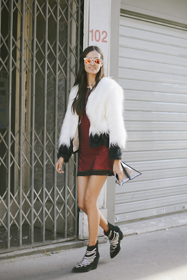 Gizele Oliveira - Topshop Dress, Urban Outfitters Jacket, Jeffrey Campbell Boots - PFW fur and chains
