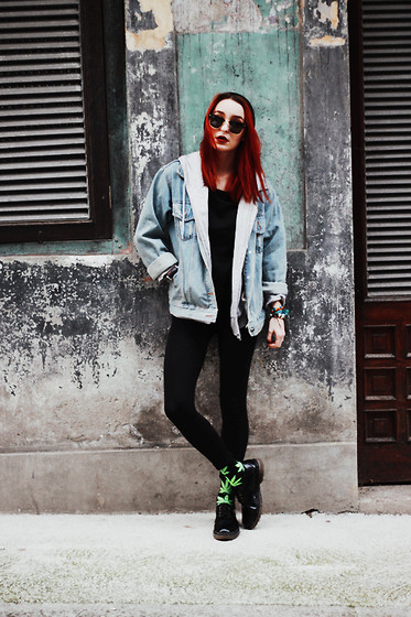 Eugenia V. Tenenbaum - Sammydress Denim Jacket, Oasap Shirt, Primark Pants, Huff Socks, Pull & Bear Shoes, Shadestation Sunglasses - 86. SOMETHING'S SO SICK ABOUT THIS.