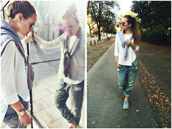 Braidsandeyeliner - Stradivarius Blouse, Monki Jeans, H&M Sweater, Zara Sneakers, Michael Kors Watch - For A Change