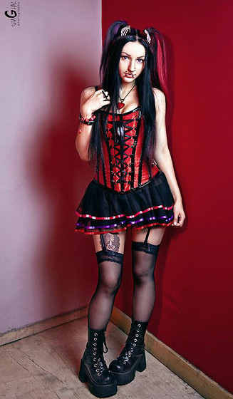 Αγγελική-Μαρία Καλογεροπούλου - Xpleasure Erotic Stores Corset And Skirt, Demonia Shoes - Pastel juliet goth