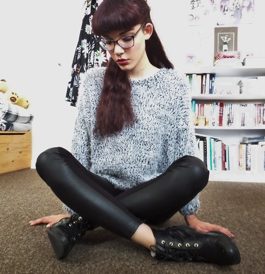 Izzy Humphreys - Atmosphere Fluffy Jumper, Divided Leather Look Leggings, New Look Lace Up Boots - But we cannot cling to the old dreams anymore