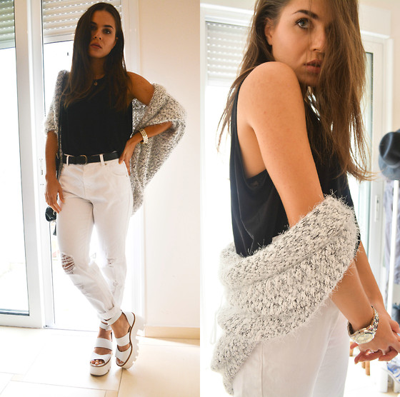 Isabella M. - Zara Blach Top, Pull & Bear White Mom Jeans, Pull & Bear Cardi, Windsor Smith Sandals, Asos Watch - Stay Positive