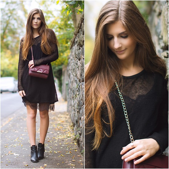 Valerie Husemann - Free People Black Lace Dress, Asos Bag Bordeaux, Selected Femme Ankle Boots - Black Lace Everything