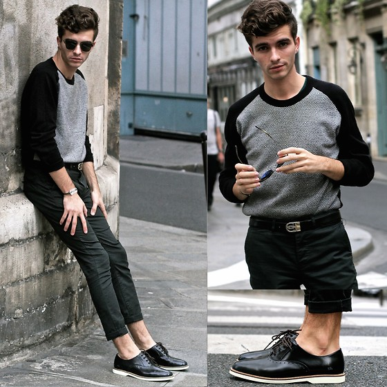 "Matthias C. - Lacoste Brogues, Asos Dark Green Chino Pants, Graphic Sweater, Oliver Peoples Sunnies, Razor Blade Bracelet - ""Iolaos"""