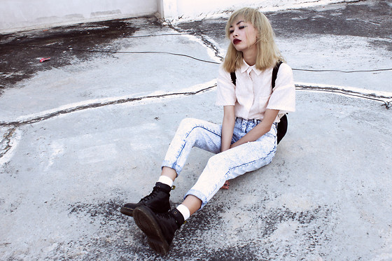Vu Thien - Frontrowshop Sequine Shirt, Dr. Martens Boots - DONE ALL WRONG