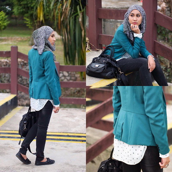 Liyana Aris - Pull & Bear Blazer, Lancel Satchel, Pull & Bear Shirt - Think Green