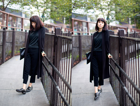 Samantha Mariko - Zara Duster Cardigan, Uniqlo T Shirt, Le Ciel Bleu Pants, Sam Edelman Monk Strap Shoes - Black on black