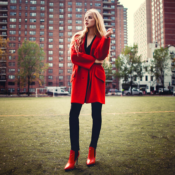Ruby June - Yoana Baraschi Modern Icon Diva Coat, Yoana Baraschi Slim Pants, Topshop Red Boots - MODERN ICON