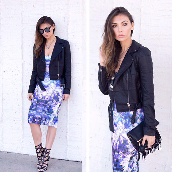 Tienlyn . - Red Label Holographic Print Dress, Carolinna Espinosa Sandals, Style Stalker Moto Jacket - Purple Love