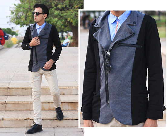 Ahmed Imoudrog - Giantvintage Glasses, Minitake Vogue Irregular Zipper Design Tailored Suit Jacket Coat For Man - MINITAKE