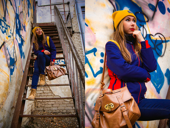 Anna Sever - Asos Hat, Pull & Bear Bag - Yellow hat