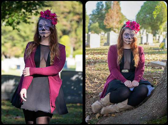 Gwen G. - Diy Floral Headband, Forever 21 Burgundy Cardigan, Buffalo Exchange Black Mesh Dress, Aunt's Closet Cowboy Boots, Thrift Store Western Belt, Diy White Petticoat, Mudd Feather Earings, H&M Black Tights - Day of the Dead