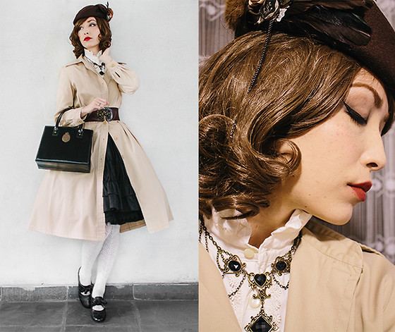 Carolina Sakuma - Tao Bao Hat, Tao Bao Necklace, Le Carrousel Shirt, Marie Claire Trench Coat, Tao Bao Belt, Metamorphose Logo Bag, Body Line Skirt, Le Carrousel Underskirt, Tao Bao Stockings, Fioni Ribbon Shoes, Le Café Crown Ring - 141021 home