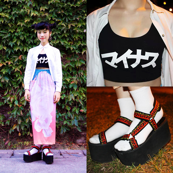 Peggy Chen - Pet Shops Girl Mercedes Benz Earrings, Zara White Blouse, マイナス Minvs Vest, W.I.A Skirt, Yru Fire Sandles - Roses on Fire