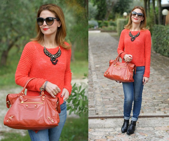 Vale ♥ - Balenciaga City Bag, Happiness High Waisted Jeans, Albano Boots - Red and hot