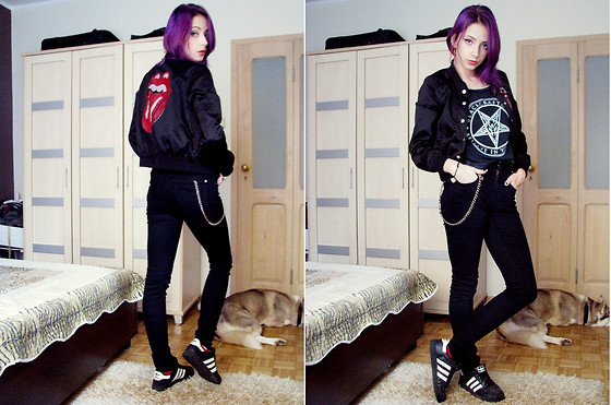 Holly G. - H&M Rolling Stones Baseball Jacket, Topshop Skinny Jeans - It's only rock&roll baby