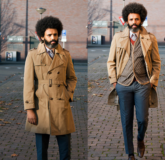 Dualleh Abdulrahman - Falcon Beige Trenchcoat, Zara Quilted Jacket, Saltoni Dark Grey Pants, We Red Spencer - Fall 1