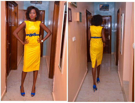 Senegalese Blogger - Zara Blue Shoes, Aldo Watch - Getzner Dress
