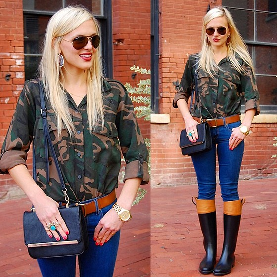 Lauren Vandiver - Sanctuary Button Up, Kendra Scott Earrings, Walin & Wolff Boots, Michael Kors Watch, Ray Ban Sunglasses, Asos Bag, Kendra Scott Ring - MILITARY MINDED