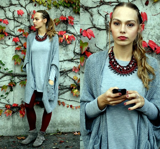 Alena Vave - Tally Weijl Cardigan, H&M Longsleeve, H&M Tights, Zara Necklace - Red & Grey